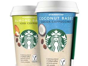 Starbucks.  Coconut Based Cocoa Cappuccino oraz Almond Based Iced Coffee