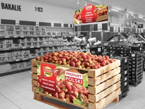 300-kg skrzynie pełne polskich jabłek w Lidlu